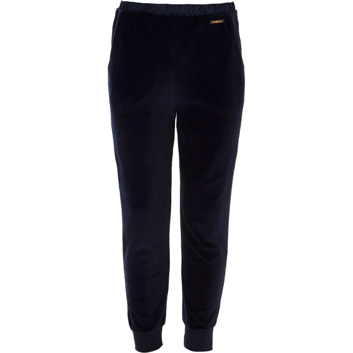 Girls navy velour joggers