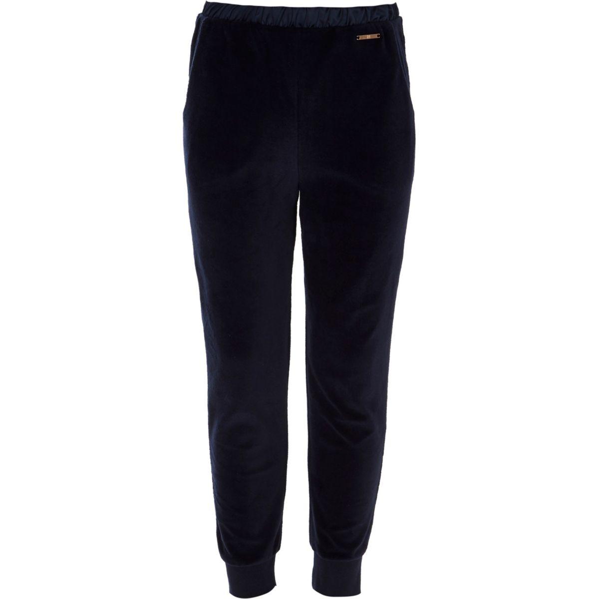 Pantalon de jogging en velours bleu marine pour fille