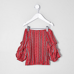 Mini girls red tile bardot balloon sleeve top