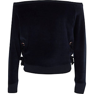 Girls navy velour lace-up bardot sweatshirt