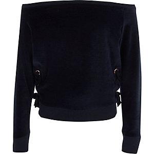 Girls navy velour lace-up bardot sweatshirt