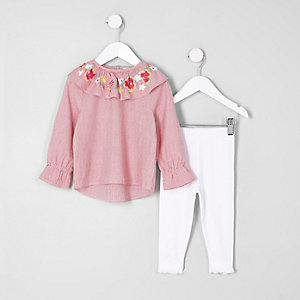 Mini girls red stripe frill collar top outfit