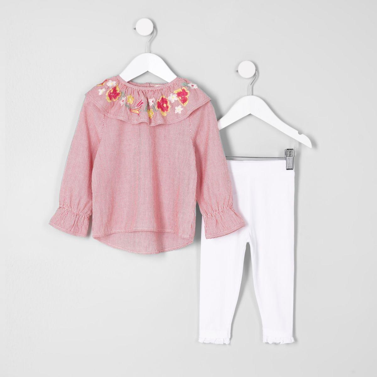 Mini Girls – Outfit mit rot gestreiftem Oberteil mit Rüschenkragen