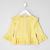 Girls yellow broderie long sleeve top