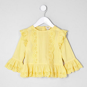 Mini girls yellow broderie long sleeve top