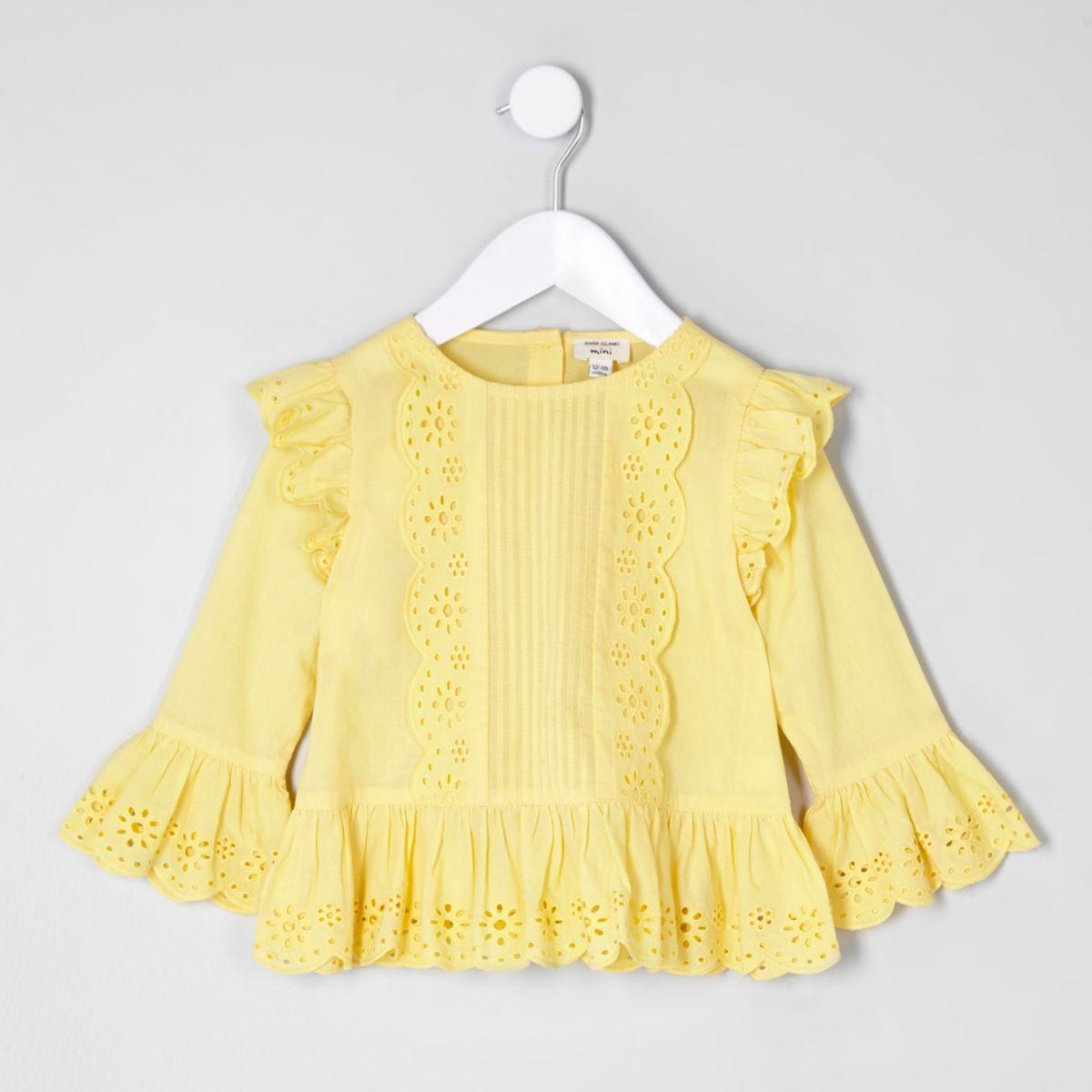 Mini girls yellow broderie long sleeve top