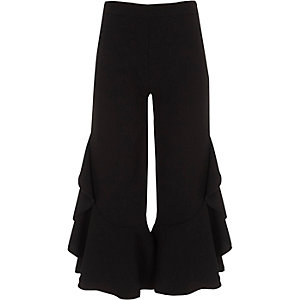 Girls black frill wide leg pants