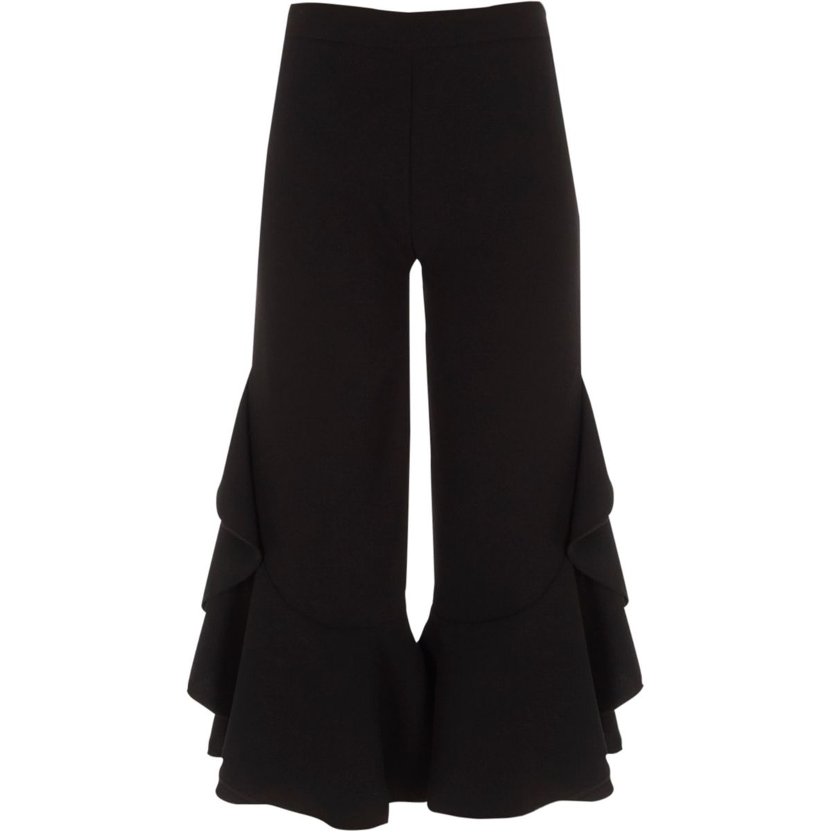 Girls black frill wide leg trousers
