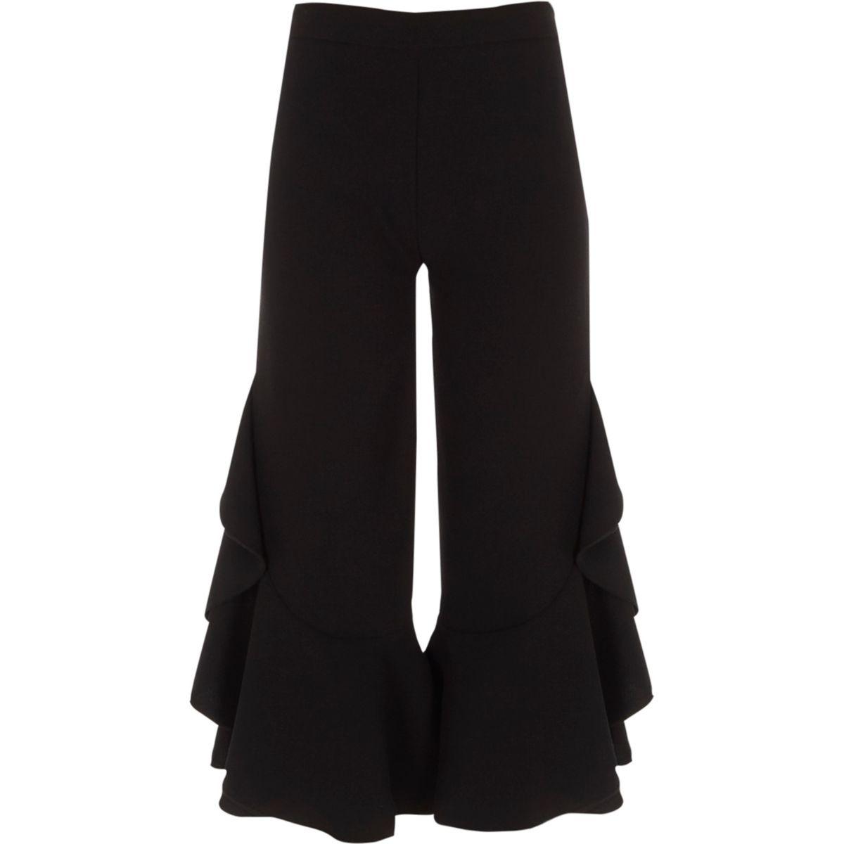 Girls black frill wide leg pants