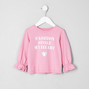 Mini girls pink 'fashion' long sleeve T-shirt