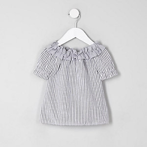 Mini girls grey stripe ruffle bardot neck top