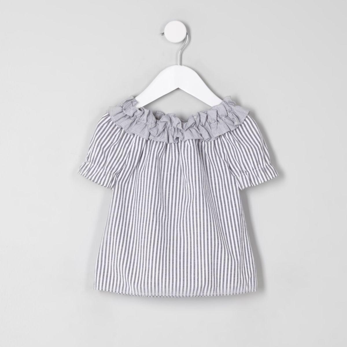 Mini girls grey stripe ruffle bardot neck top