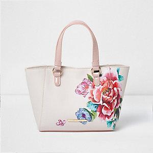 Roze handtas met zijinzetten en bloemenprint voor meisjes