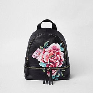 Zwarte rugzak met rondlopende rits en bloemenprint voor meisjes