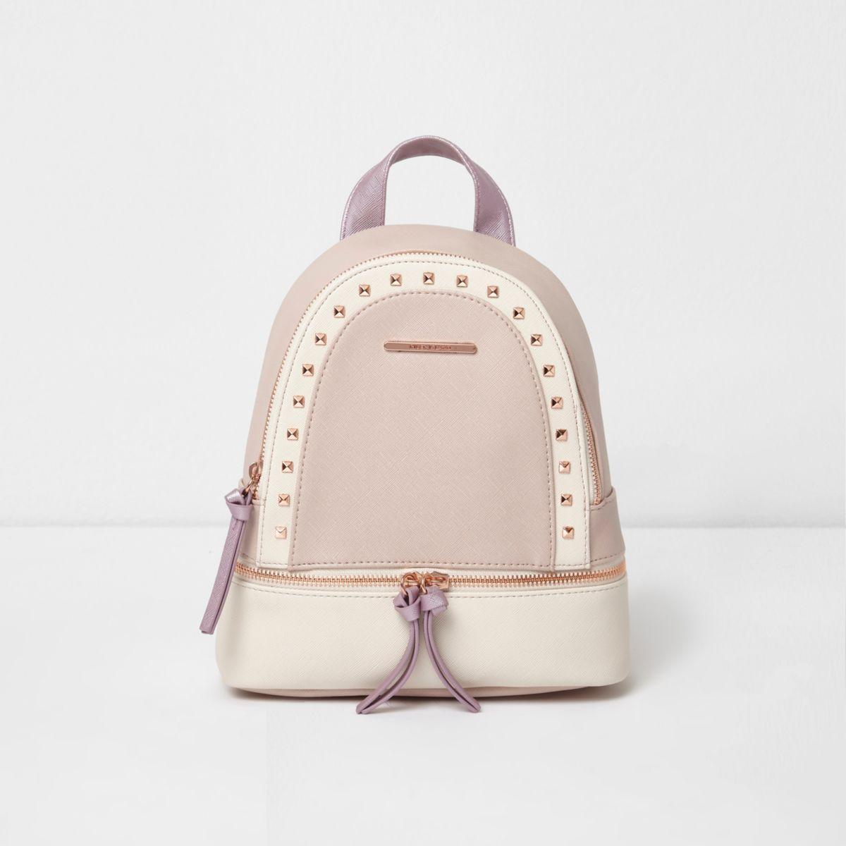Girls pink studded blocked backpack