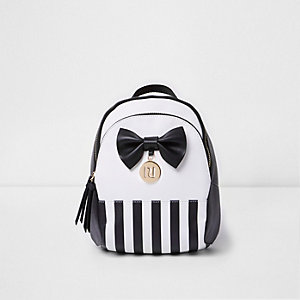 Girls black and white stripe bow back pack
