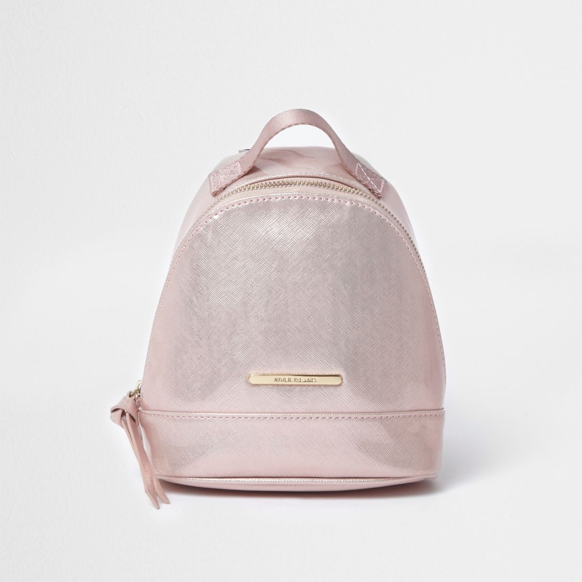Petit sac à dos rose verni pour fille