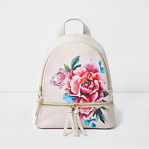 Girls beige floral print zip around backpack