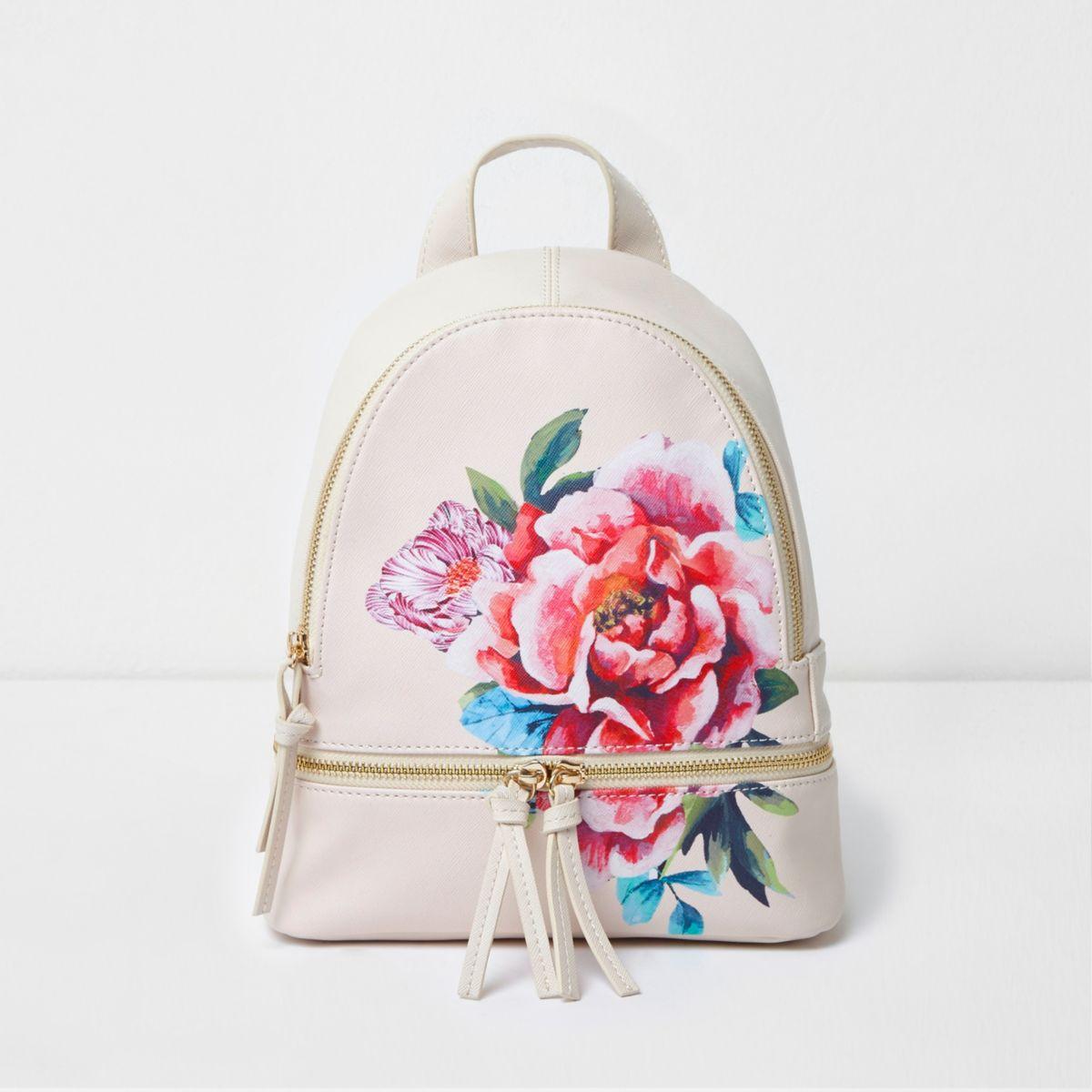 Girls beige floral print zip around backpack