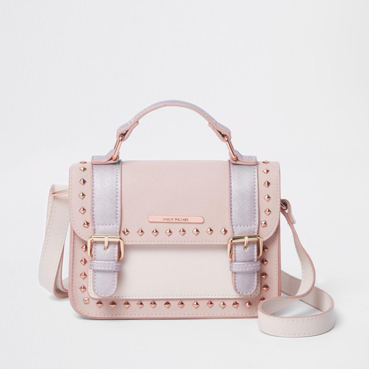 Girls pink studded cross body satchel bag