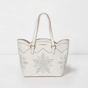 Girls white lazer cut scallop edge tote bag