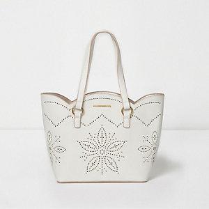 Witte laser-cut handtas met geschulpte rand voor meisjes