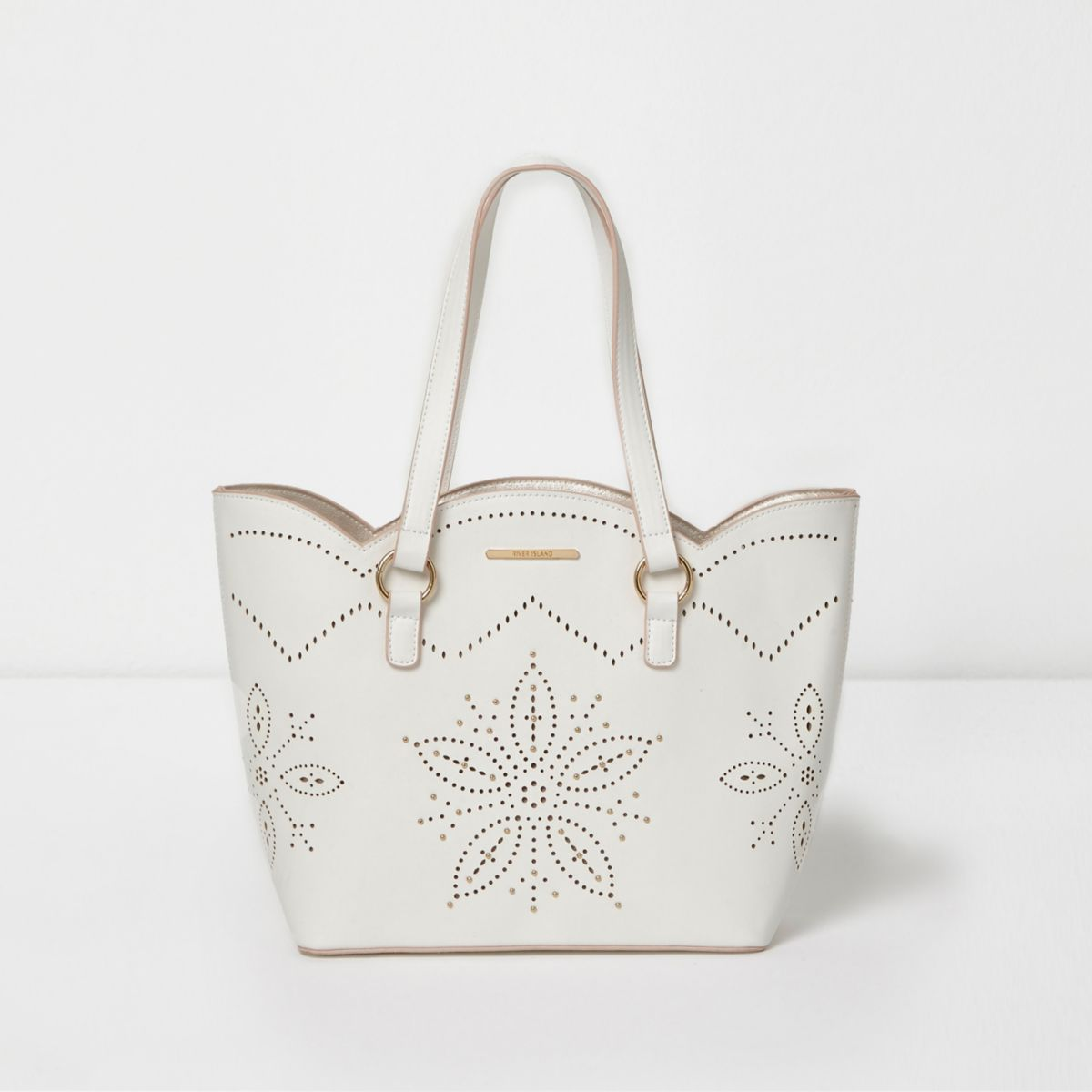 Girls white laser cut scallop edge tote bag