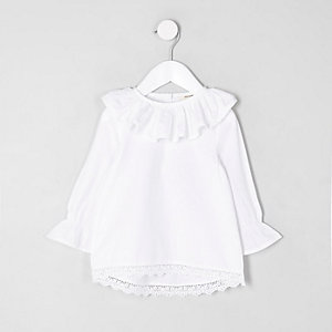 Mini girls white frill collar crochet top