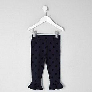 Mini girls navy flocked polka dot leggings