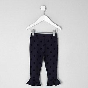 Mini - Marineblauwe legging met stippen voor meisjes