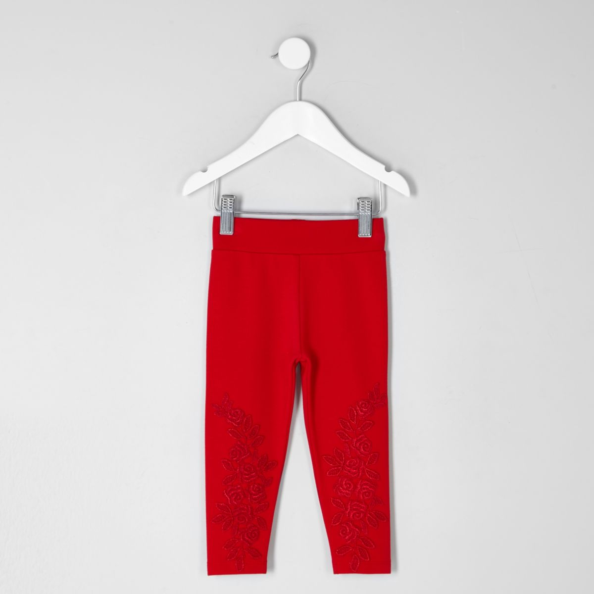 Mini girls red lace embroidered leggings