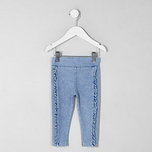 Mini girls blue ruffle denim look leggings