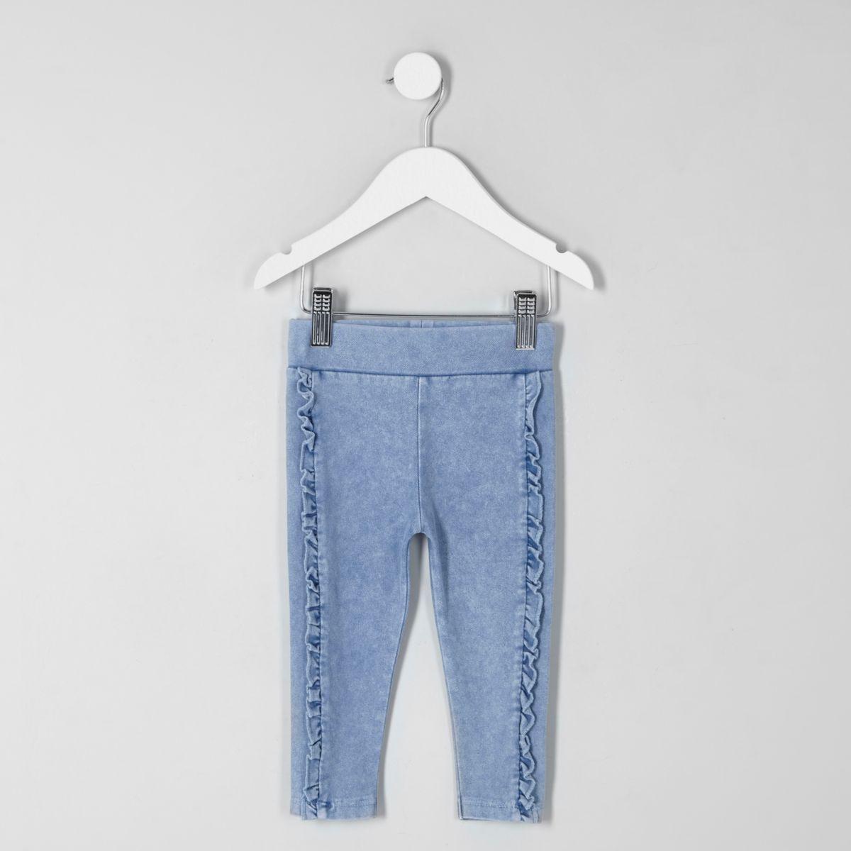Legging imitation jean bleu à volants mini fille