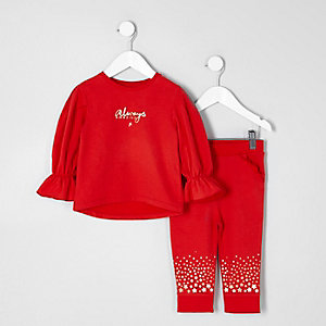 Mini girls red sweatshirt and joggers outfit