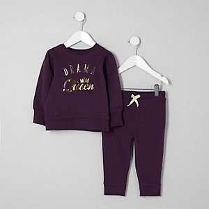 Ensemble avec sweat imprimé « queen » violet mini fille