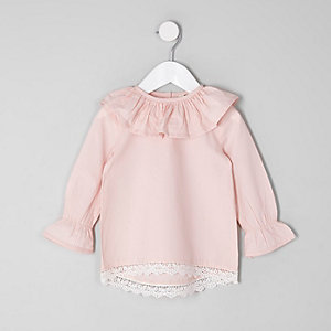 Mini girls light pink frill circle collar top