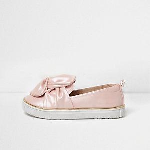 Roze slip-on gympen met strik voor meisjes