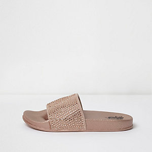 Girls pink diamante stud embellished sliders