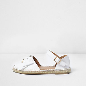 Girls white bow top espadrille sandals