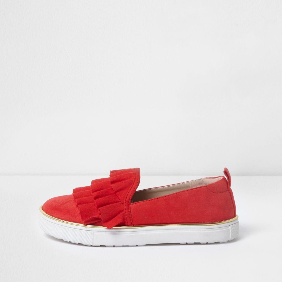 Girls red ruffle chunky slip on plimsolls