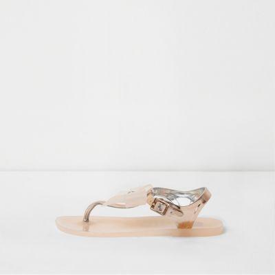 River Island Sandales en plastique doré rose à nœud avec strass mini fille