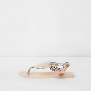 Girls rose gold diamante bow jelly sandals
