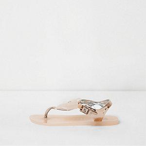 Roségoudkleurige jelly sandalen met strik en diamantje voor meisjes