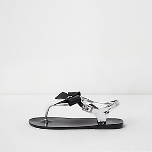 Girls black diamante bow jelly sandals