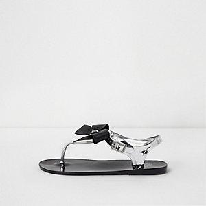 Zwarte jelly sandalen met strik en stras voor meisjes