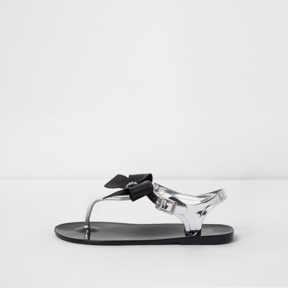 Girls black rhinestone bow jelly sandals