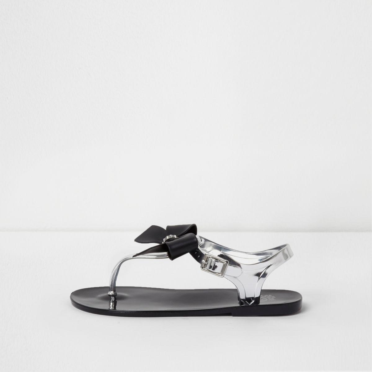 Sandales en plastique noires avec nœud à strass pour fille