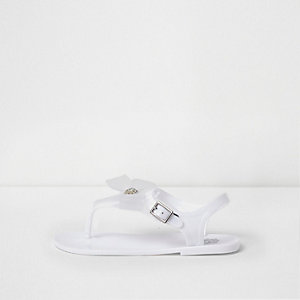 Girls white rhinestone bow jelly sandals