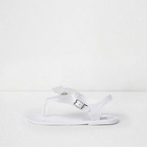 Witte jelly sandalen met strik en diamantje voor meisjes