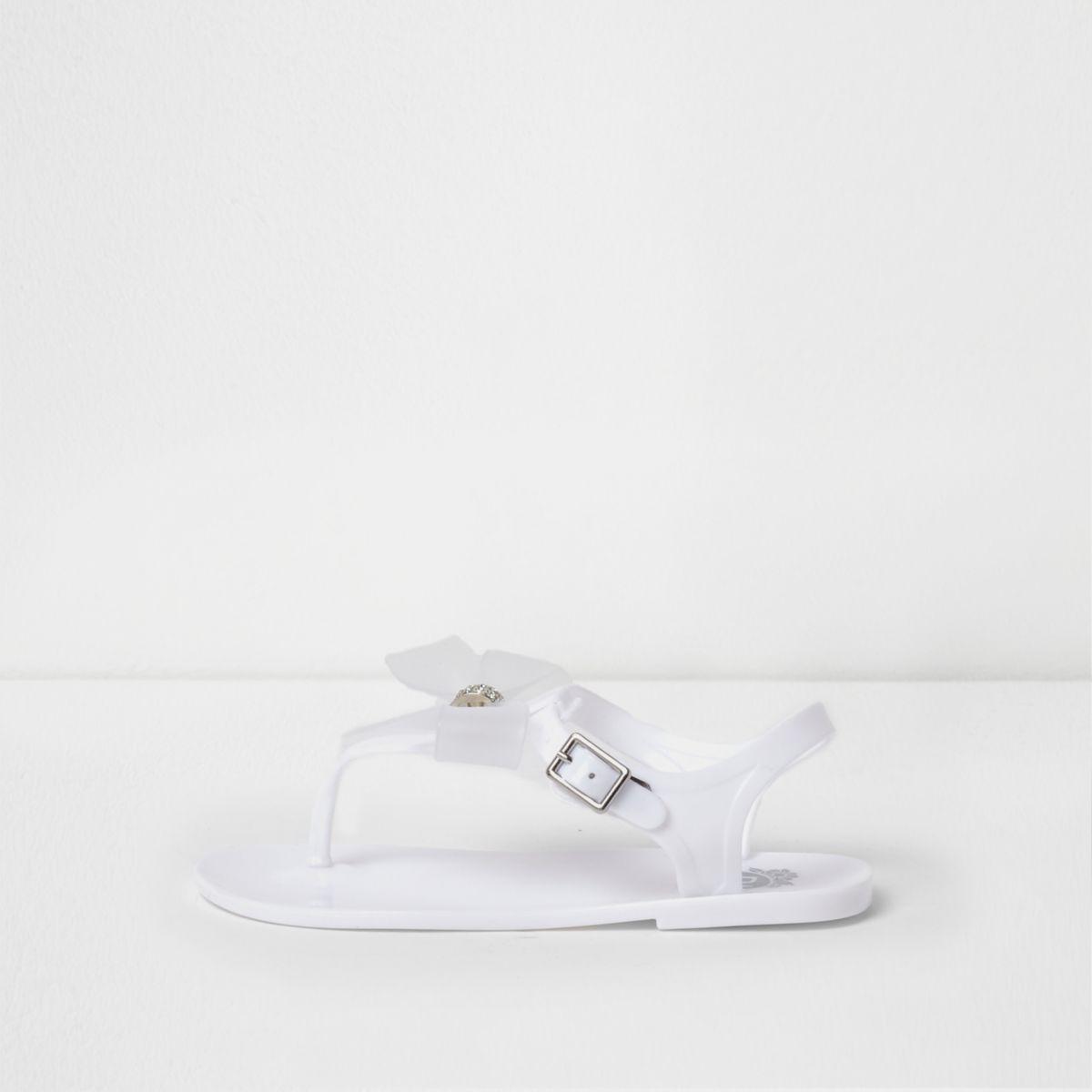 Girls white rhinestone bow jelly sandals